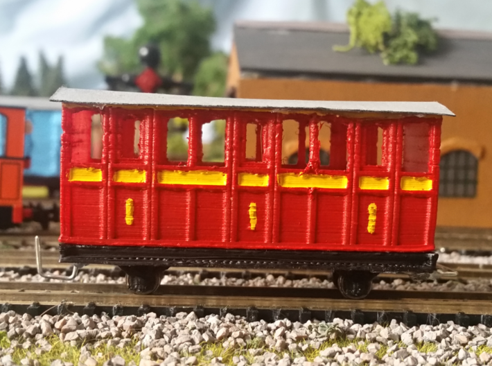 OO9 Skarloey / Talyllyn Narrow Gauge Coach TYPE 4 3d printed The version of these coaches with the added No. 1
