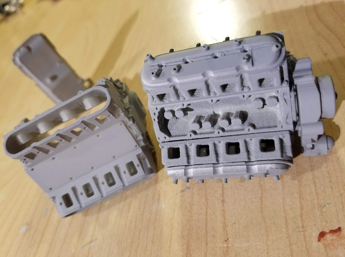 LS Short Block 3d printed Our engine in the left, comparison with the junk from a competitoron the right. You can see the difference, just like you will on a model!