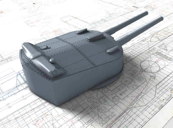 """1/350 HMS Agincourt 12"""" BL MKXIII Guns 1916 x7 3d printed 3d render showing Tuesday Turret"""