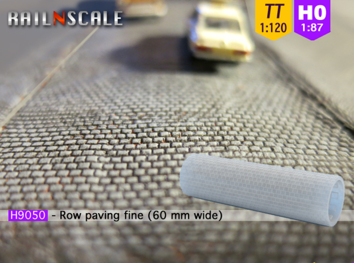 Row paving fine 60 mm wide (TT 1:120 - H0 1:87) 3d printed