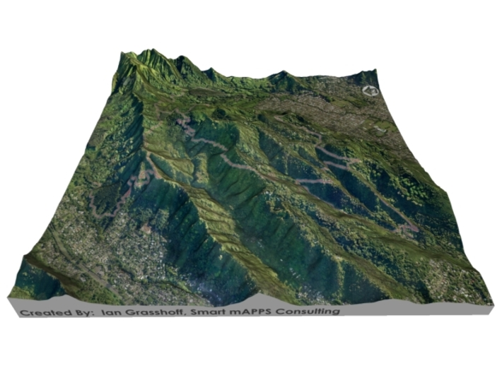 "HURT100 Course Map, Hawai'i: 8""x8""@1:20,000 Scale 3d printed"