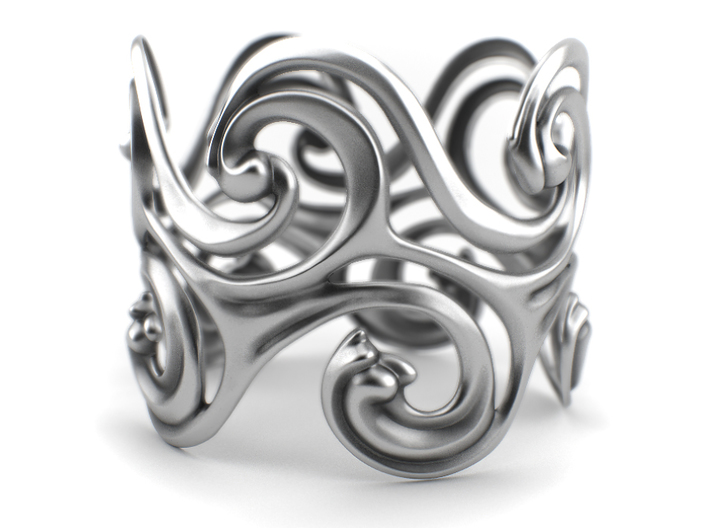 Surf Waves - Sterling Silver Cuff Bangle 3d printed