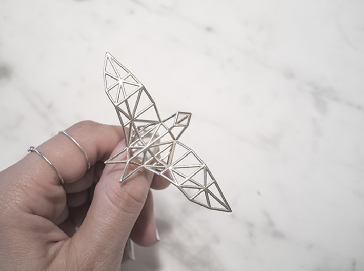 origami eagle ring 3d printed