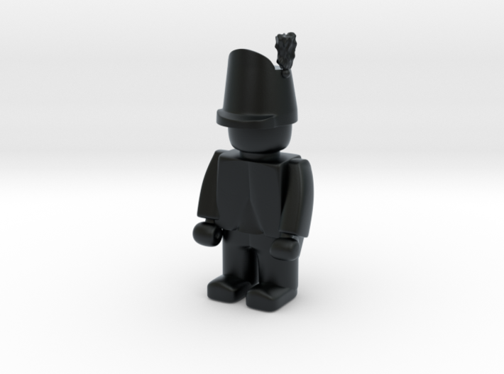 British Wellington Shako  3d printed Example figurine wearing the hat in black Hi-Def Acrylate