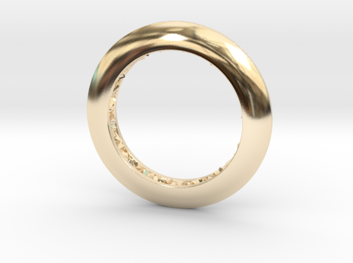 Ring shaped pendant with a raw band inside 3d printed