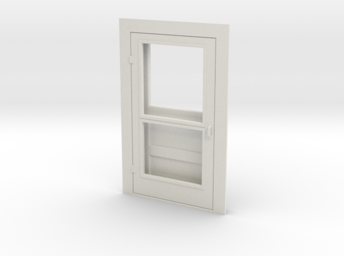 Door, Single with Screen, 47in X 82in, 1/32 Scale 3d printed White Strong & Flexible Plastic - easy to dye