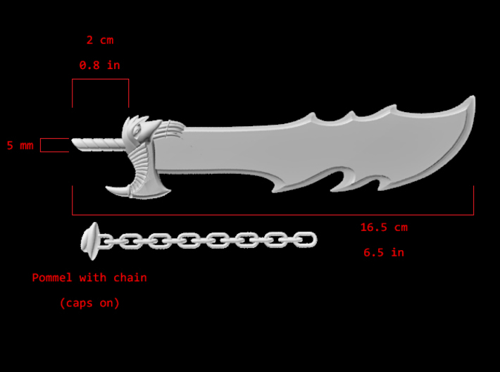 Action Figure Weapon: Jagged Sword 3d printed A render of the jagged sword with some specs