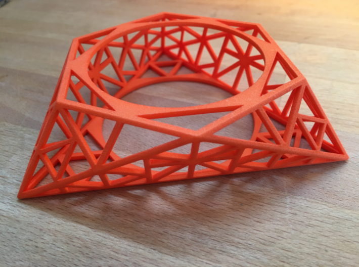 Tria Hex Raw  3d printed Tria Hex Raw in Orange Strong Flexible ( actual print