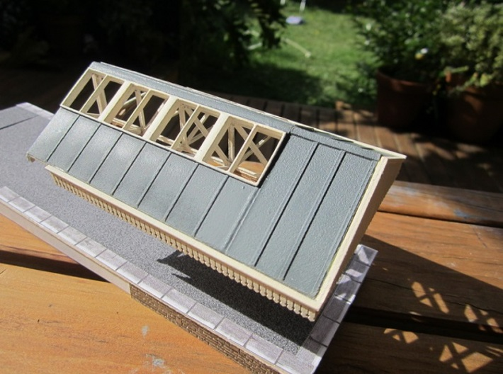 Roofs for 280mm long Canopy 3d printed One bay with end section painted and assembled