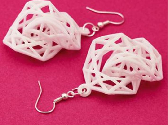 BRILLIANT TWIST - earrings 3d printed White