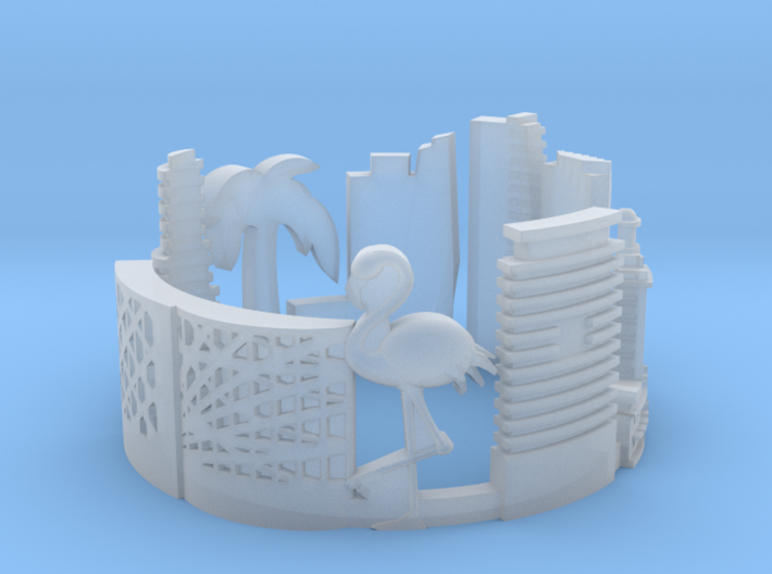 Miami Skyline - Cityscape Ring 3d printed
