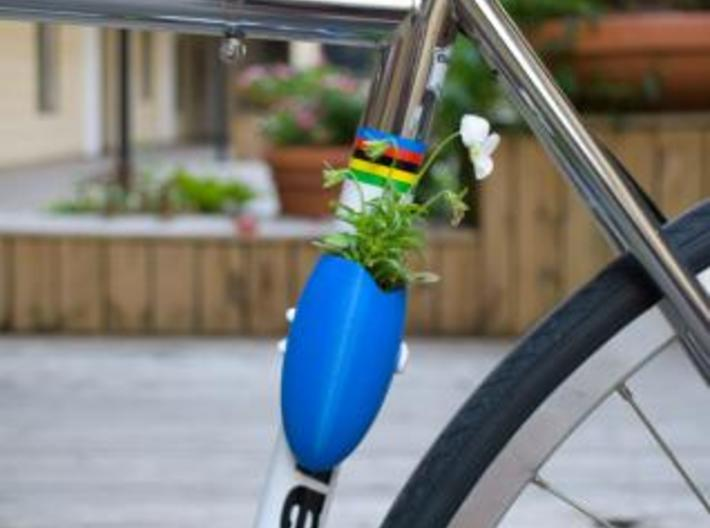 A Planter for Your Bike 3d printed Shown here printed in blue ABS.