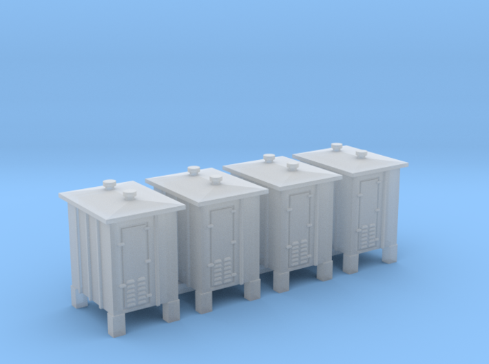 4 pcs N scale signal relay box on sprue 3d printed