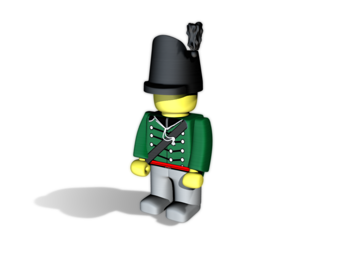 British Wellington Shako  3d printed Example figurine (British Rifle) wearing the hat in black Hi-Def Acrylate
