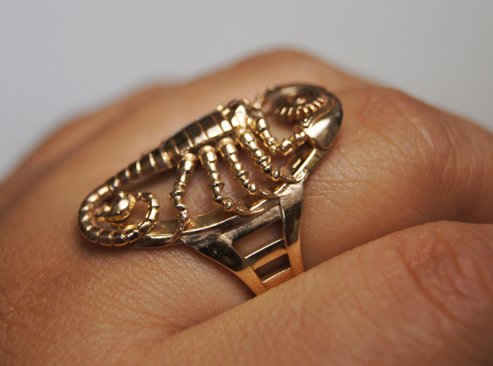 Mech Scorpion Ring Size 13.5 3d printed