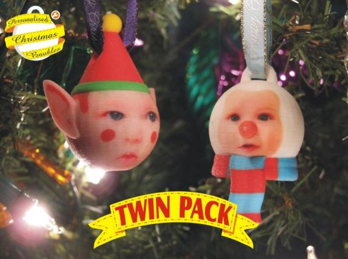 Elf & Snowman baubles twin pack (personalised) 3D 3d printed front view