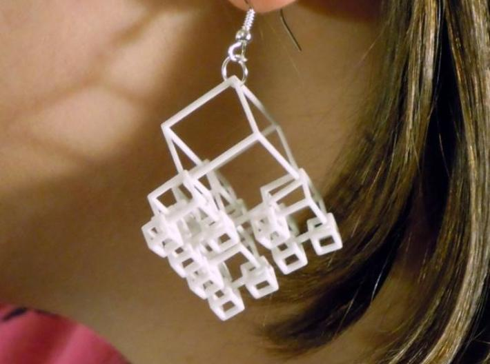 1+4+4×4 Cubes Earrings 3d printed WSF polished