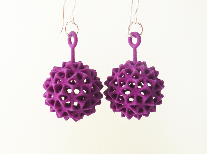 Virus Ball -- Plastic Earrings 3d printed