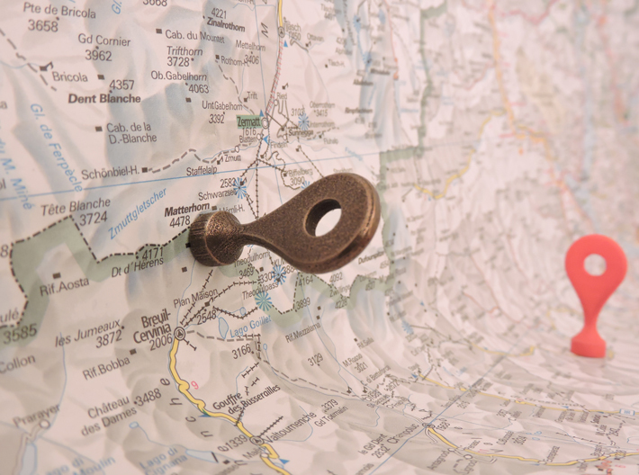 Google Maps Marker - Magnet (no hole) 3d printed Polished Bronze Steel (v1.0; NOT this model; this one has NO hole)