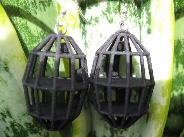 Four Caged Balls Earrings 3d printed