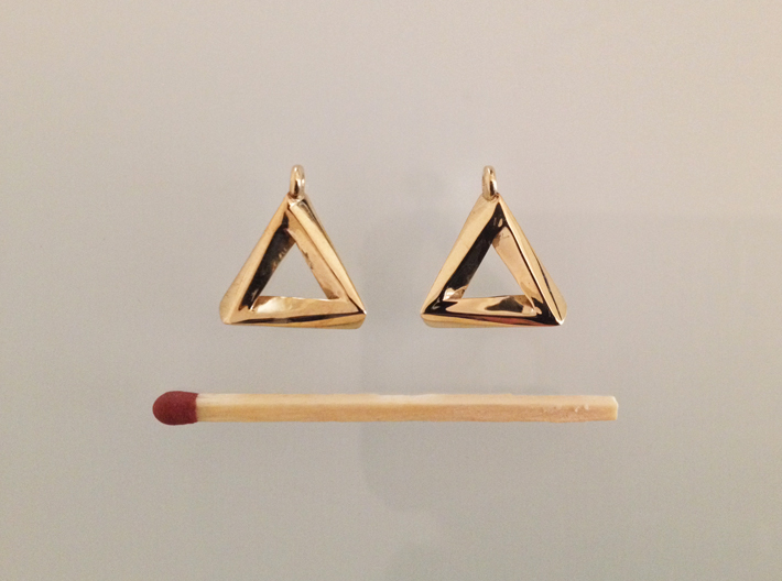 Penrose Triangle - Earrings (17mm | 1x mirrored) 3d printed Polished Brass