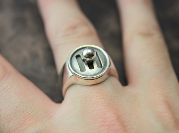Shifter Ring 3d printed This material is Polished Silver , Patinated with bleach