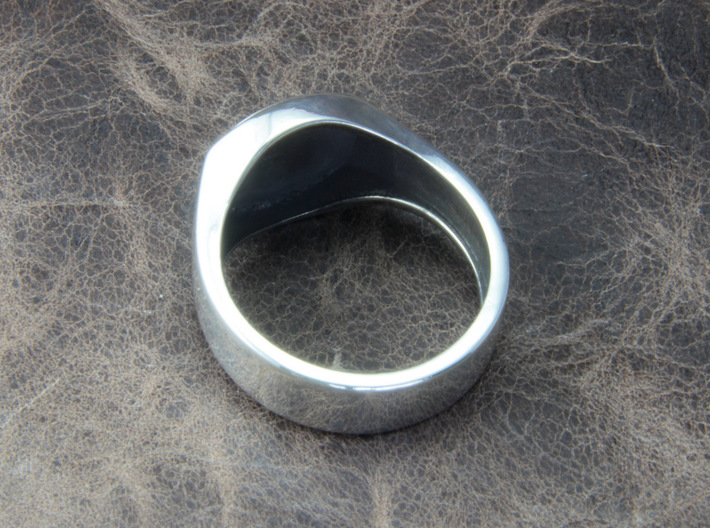 Home button Ring 3d printed This material is Polished Silver , Patinated with bleachThis material is Polished Silver , Patinated with bleach