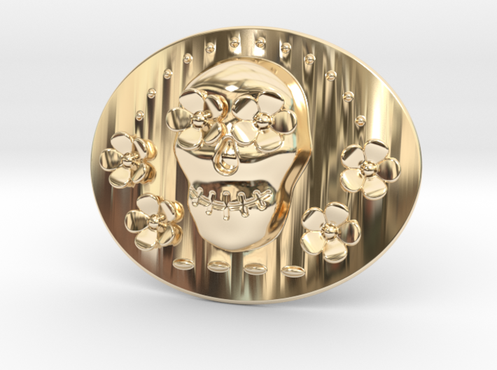 Cabeza Belt Buckle Flowers Mexico 3d printed