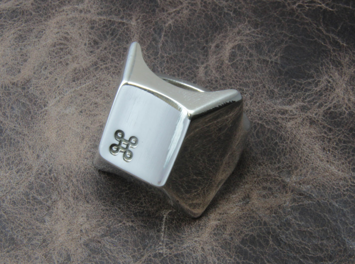 Command key Ring 3d printed This material is Polished Silver , Patinated with bleach