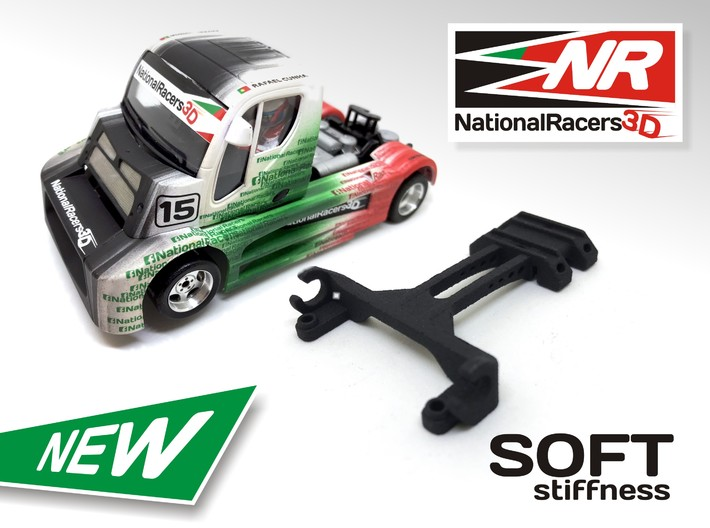 3D Upgrade - Fly Trucks* Front Axel - SOFT 3d printed Front axel support compatible with Fly Truck models* (slot car and other parts not included)