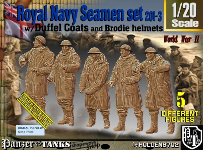 1/20 Royal Navy Duffel Coat Set201-3 3d printed