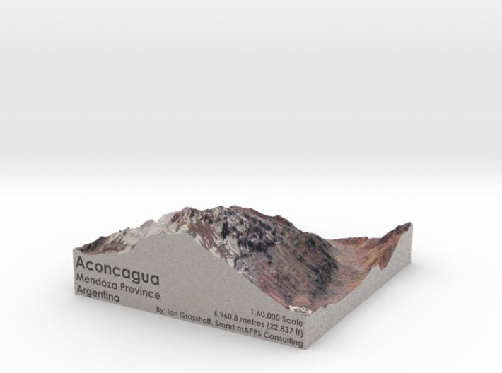 "Aconcagua Map, Argentina: 6"" 3d printed"