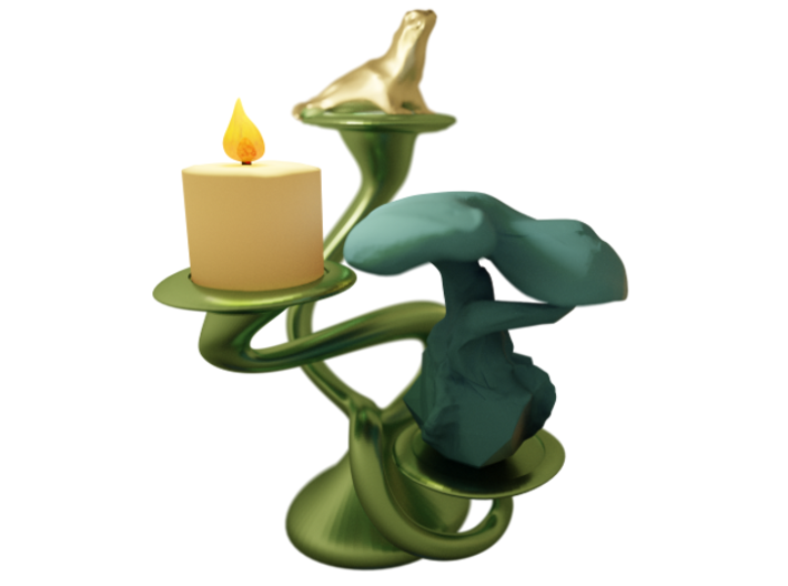 """Tripla Candelabra - Votive (1.5"""") Candle 3d printed Shown with Sea Lion and Rock Tree (not included)"""
