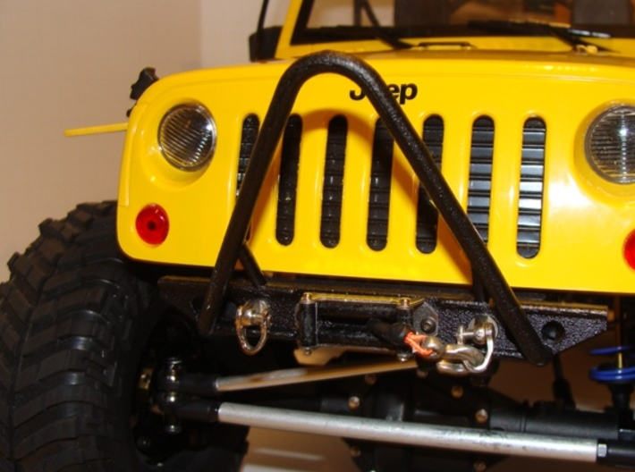 JK Front Bumper w/ Stinger 3d printed printed in matte black steel w/ a coat of satin black