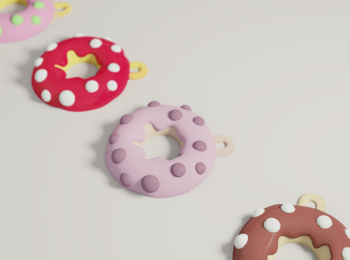 Donut Earing & Pendant Pink 3d printed