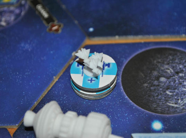 Human Fighter 3d printed Sol Fighters support a carrier in a game of Twilight Imperium 3