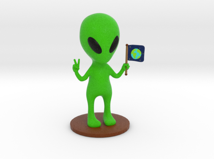Alien doing peace sign sculpture - (9.5cm tall) 3d printed