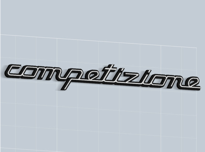 COMPETIZIONE BADGE 3d printed Competizione badge in Matte Black Steel, with white plastic inserts -sold apart-, render.
