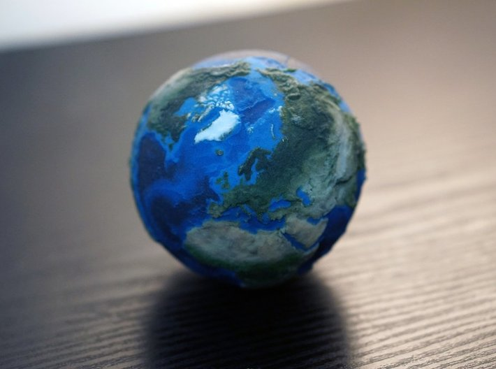 Earth with relief detail 3d printed