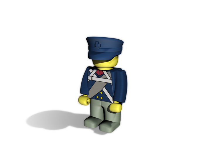 Prussian Schirmmütze 3d printed Example figurine wearing the helmet in pWSF colored in blue
