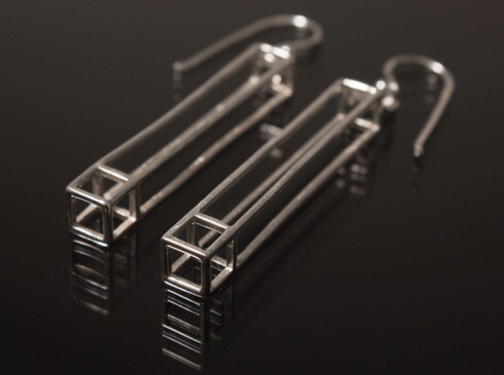 Rectangular Prism Drop Earrings 3d printed Shown with jump rings and ear wires (not Included)