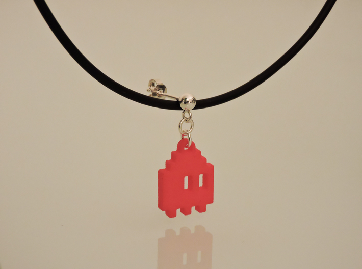 Pac Man Ghost 8-bit Earring 1 (looks down | moving 3d printed NOT this model - Orange Strong & Flexible Polished