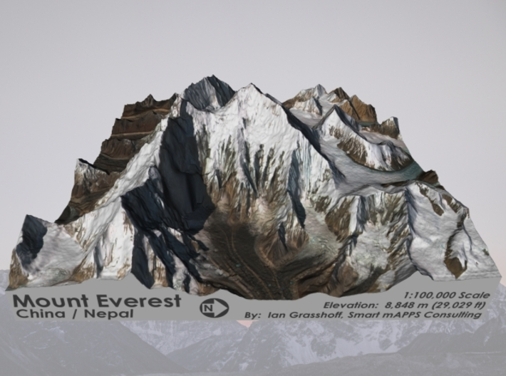 "Mount Everest: 6""x6"" 3d printed"