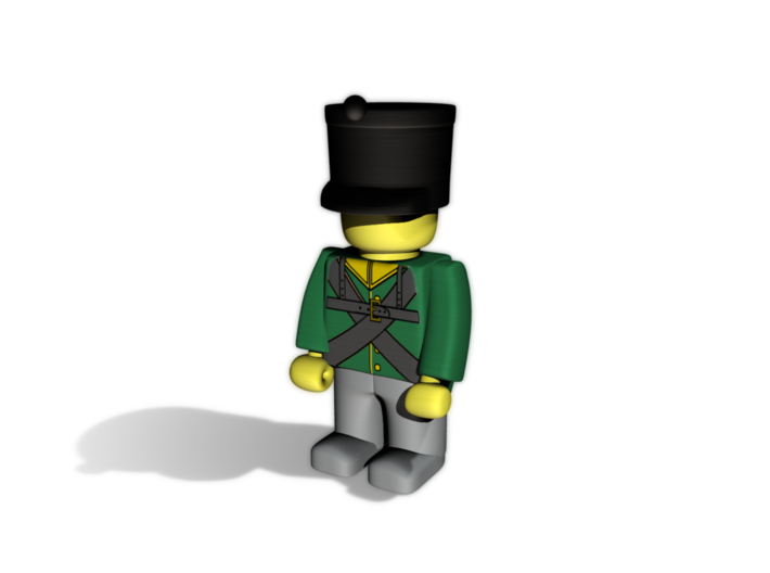 5 x French Shako 3d printed Example figurine (Dutch Chasseur) wearing the helmet in black premium