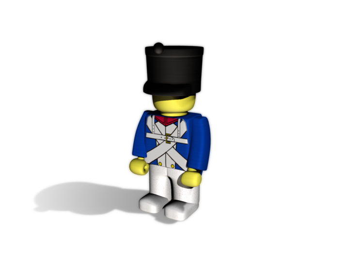 5 x French Shako 3d printed Example figurine (French Line Infantry) wearing the helmet in black premium