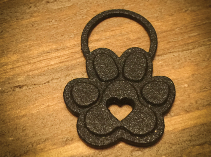 Simply Paw*fect 3d printed Paw*fect Pendant Charm in Black Steel