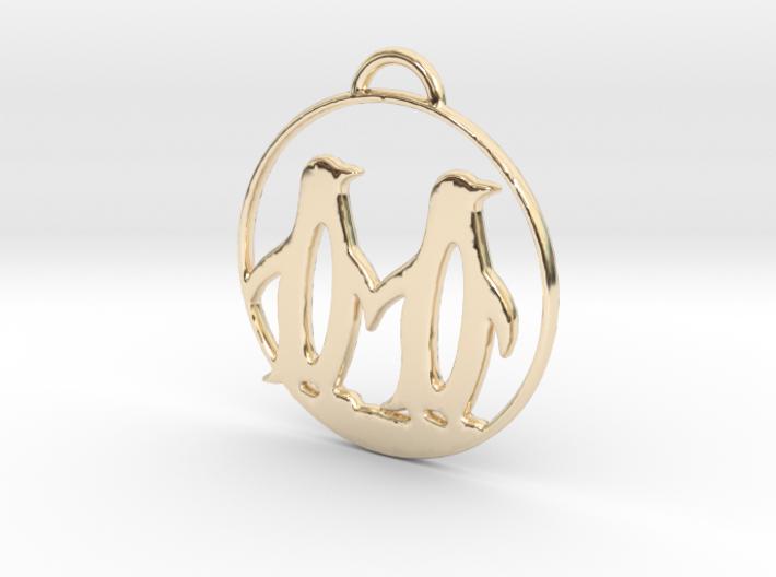 Penguins Couple H Necklace 3d printed
