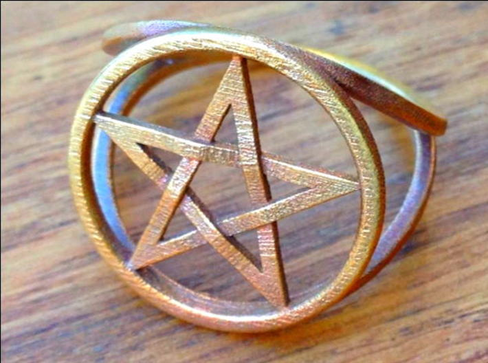 Pentacle ring - crossing 3d printed The ring in raw bronze.