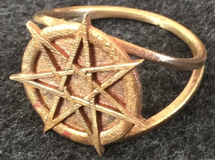 Fairy star ring 3d printed Heptagram ring in raw bronze.