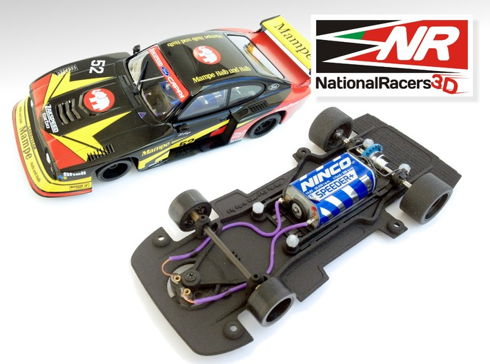 3D chassis - Fly Ford Capri RS Turbo (Combo) 3d printed Chassis compatible with Fly model (slot car and other parts not included)